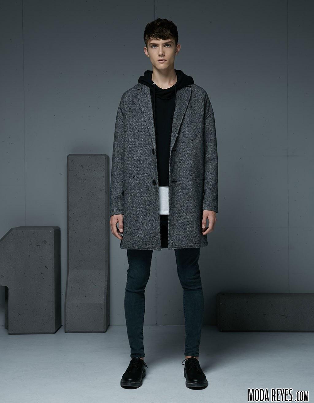 abrigo largo para chico de bershka