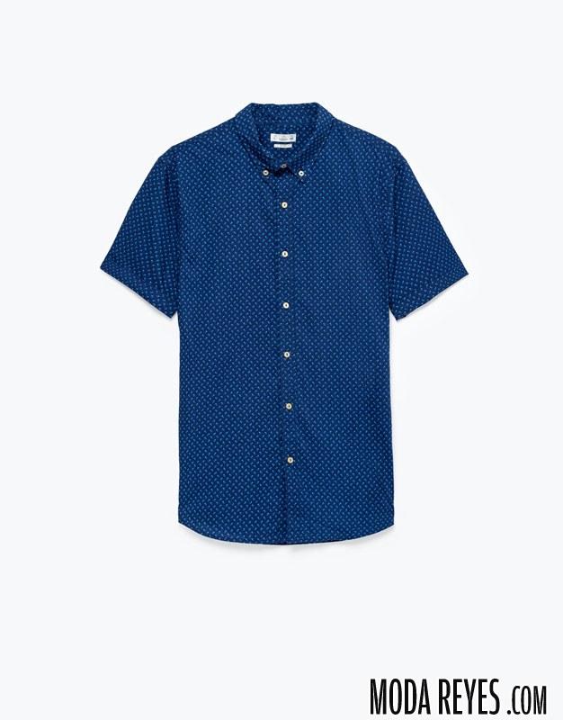 camisa hombre manga corta topos