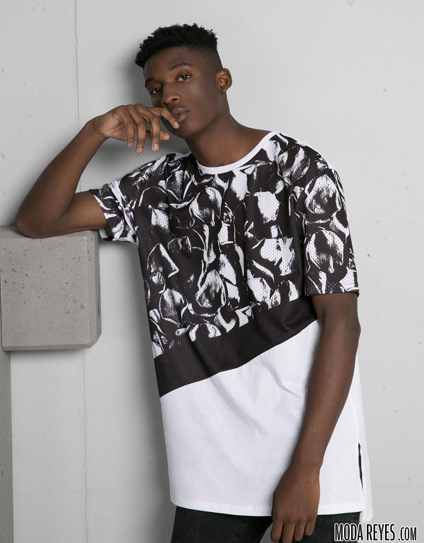 camiseta bicolor de bershka