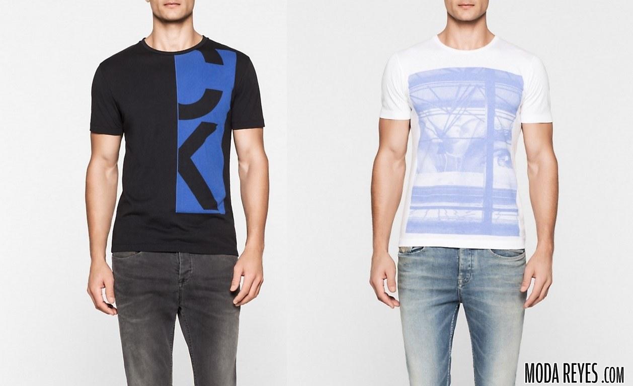 camisetas en azul calvin klein