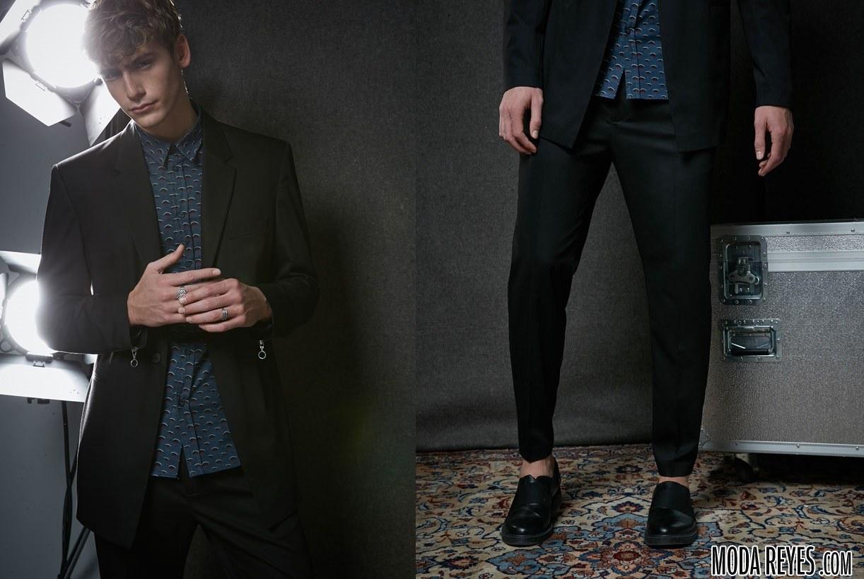 traje juvenil en color negro de bershka